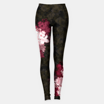 Thumbnail image of elegant flower freesia pink red with Japanese traditional Kamon decoration like Kimono Leggings, Live Heroes