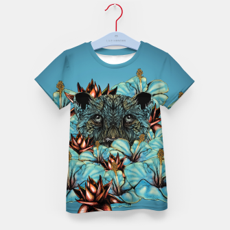 The Tiger and the Flower Kid's T-shirt obraz miniatury