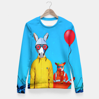 Thumbnail image of Donkey and piggy going to the party Fitted Waist Sweater, Live Heroes