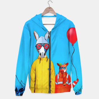 Thumbnail image of Donkey and piggy going to the party Hoodie, Live Heroes