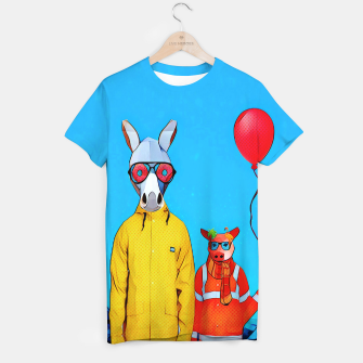 Thumbnail image of Donkey and piggy going to the party T-shirt, Live Heroes