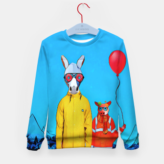 Thumbnail image of Donkey and piggy going to the party Kid's Sweater, Live Heroes