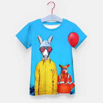 Thumbnail image of Donkey and piggy going to the party Kid's T-shirt, Live Heroes