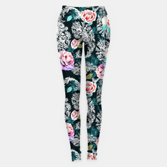 Thumbnail image of Dark pattern of flowers and paisley Leggings, Live Heroes