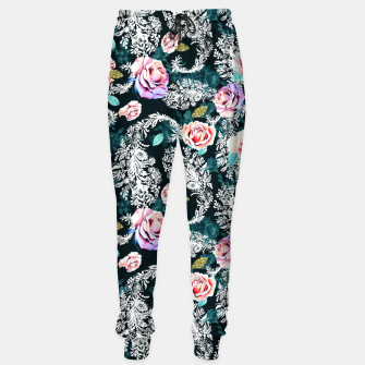 Thumbnail image of Dark pattern of flowers and paisley Pantalones de chándal, Live Heroes