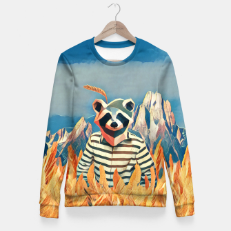 Thumbnail image of Raccoon in the wheat field Fitted Waist Sweater, Live Heroes