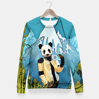Thumbnail image of Panda taking selfie Fitted Waist Sweater, Live Heroes