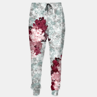 Imagen en miniatura de elegant flower pink freesia with japanese traditional kamon decoration like kimono Sweatpants, Live Heroes