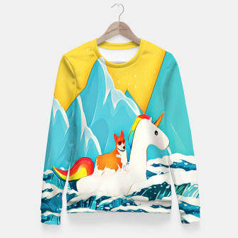 Thumbnail image of Corgi and unicorn  Fitted Waist Sweater, Live Heroes