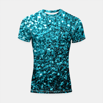 Thumbnail image of Beautiful Aqua blue glitter sparkles Shortsleeve Rashguard, Live Heroes