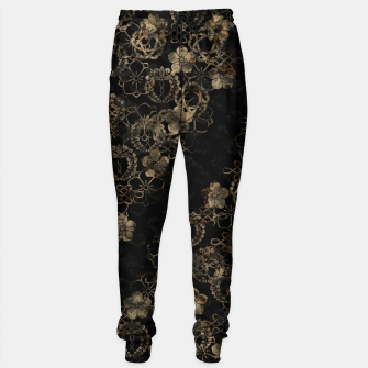 Imagen en miniatura de japanese traditional Kamon decoration like Kimono black gold Sweatpants, Live Heroes