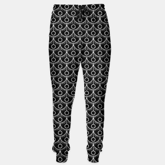 Imagen en miniatura de Feather Pattern - White on Black Sweatpants, Live Heroes