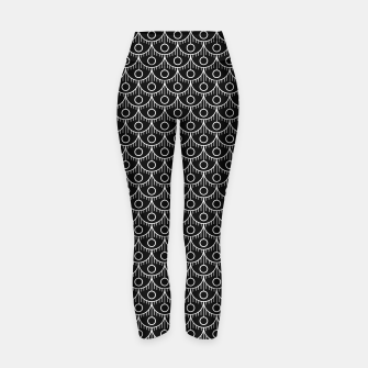 Miniatur Feather Pattern - White on Black Yoga Pants, Live Heroes