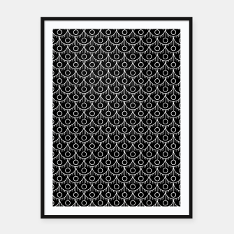 Miniatur Feather Pattern - White on Black Framed poster, Live Heroes