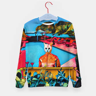 Miniatur Party Kitty at the pool Kid's Sweater, Live Heroes
