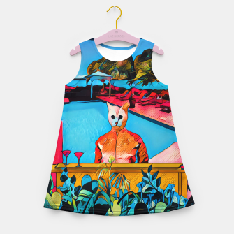Miniatur Party Kitty at the pool Girl's Summer Dress, Live Heroes