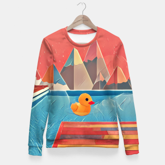 Miniaturka Little duck swimming in the pool Fitted Waist Sweater, Live Heroes