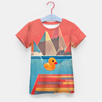 Miniatur Little duck swimming in the pool Kid's T-shirt, Live Heroes