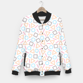 Miniaturka Geometric Shapes Pattern (White) Baseball Jacket, Live Heroes