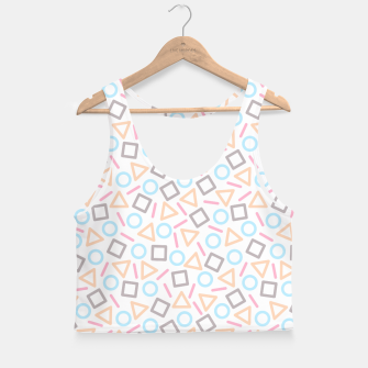 Miniatur Geometric Shapes Pattern (White) Crop Top, Live Heroes