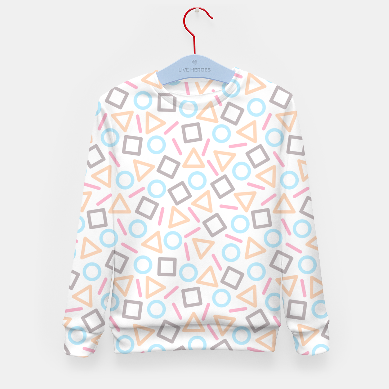 Foto Geometric Shapes Pattern (White) Kid's Sweater - Live Heroes