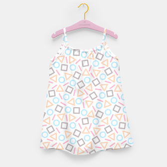 Miniatur Geometric Shapes Pattern (White) Girl's Dress, Live Heroes