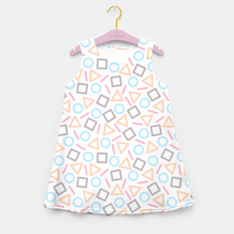 Miniatur Geometric Shapes Pattern (White) Girl's Summer Dress, Live Heroes
