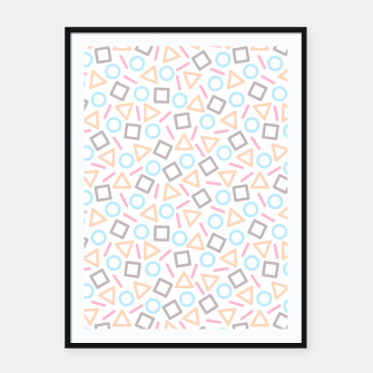 Miniatur Geometric Shapes Pattern (White) Framed poster, Live Heroes