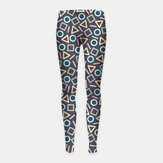Thumbnail image of Geometric Shapes Pattern (Black) Girl's Leggings, Live Heroes
