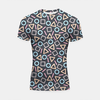 Thumbnail image of Geometric Shapes Pattern (Black) Shortsleeve Rashguard, Live Heroes