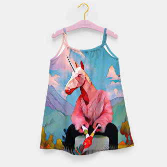 Miniatur Unicorn with the pink fur coat Girl's Dress, Live Heroes