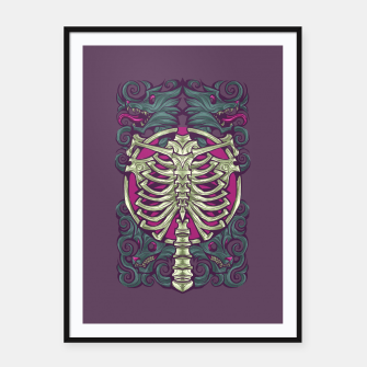 Miniatur wolving ribcage Framed poster, Live Heroes
