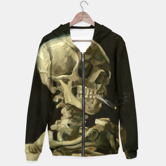 Skull of a Skeleton with Burning Cigarette by Vincent van Gogh Hoodie Bild der Miniatur