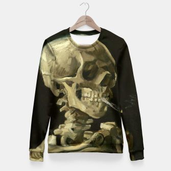 Skull of a Skeleton with Burning Cigarette by Vincent van Gogh Fitted Waist Sweater Bild der Miniatur