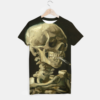 Skull of a Skeleton with Burning Cigarette by Vincent van Gogh T-shirt Bild der Miniatur