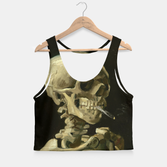 Miniatur Skull of a Skeleton with Burning Cigarette by Vincent van Gogh Crop Top, Live Heroes