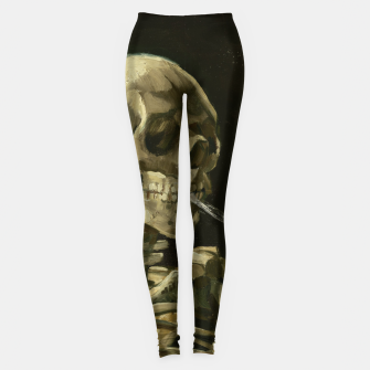Skull of a Skeleton with Burning Cigarette by Vincent van Gogh Leggings Bild der Miniatur