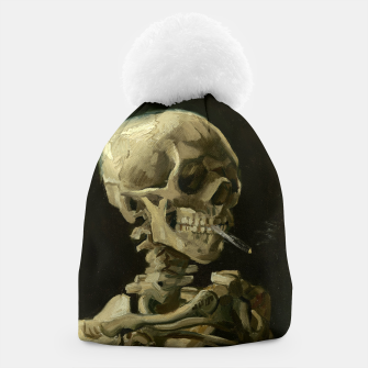Skull of a Skeleton with Burning Cigarette by Vincent van Gogh Beanie Bild der Miniatur