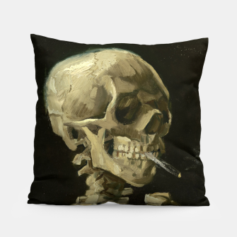 Skull of a Skeleton with Burning Cigarette by Vincent van Gogh Pillow Bild der Miniatur