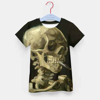 Skull of a Skeleton with Burning Cigarette by Vincent van Gogh Kid's T-shirt Bild der Miniatur