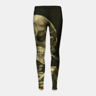 Skull of a Skeleton with Burning Cigarette by Vincent van Gogh Girl's Leggings Bild der Miniatur
