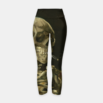 Miniatur Skull of a Skeleton with Burning Cigarette by Vincent van Gogh Yoga Pants, Live Heroes
