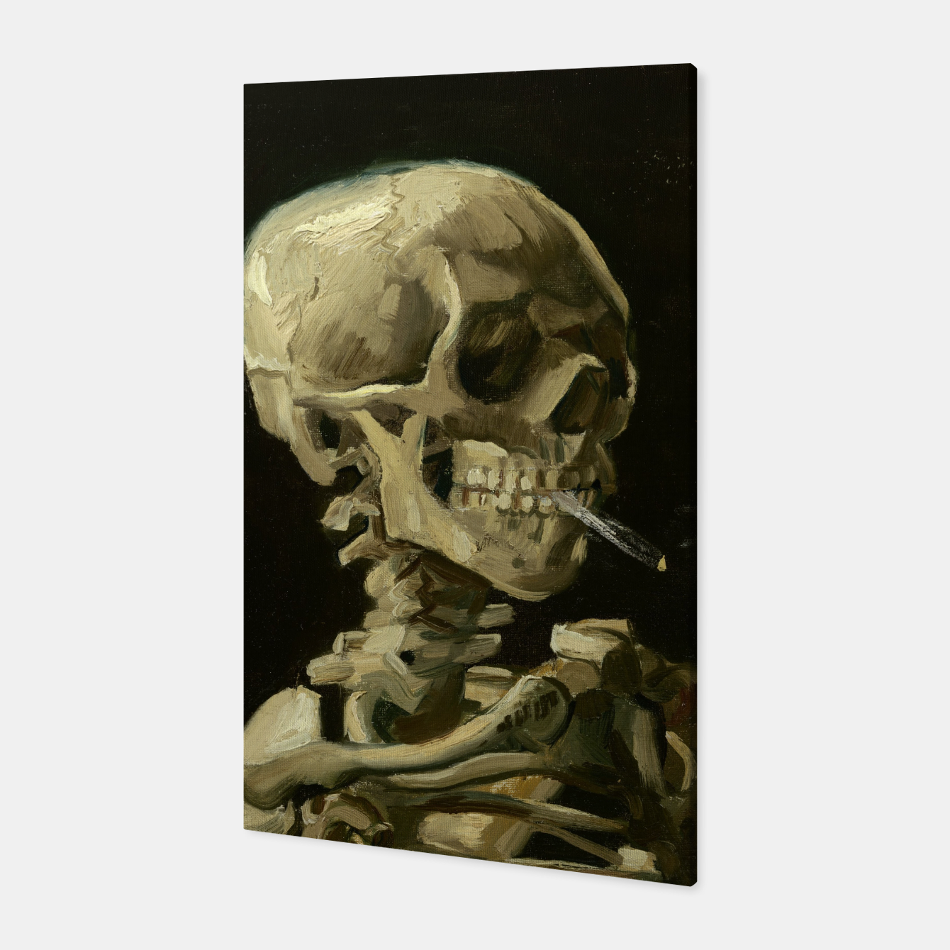 Foto Skull of a Skeleton with Burning Cigarette by Vincent van Gogh Canvas - Live Heroes