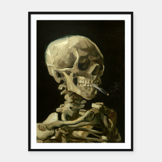 Skull of a Skeleton with Burning Cigarette by Vincent van Gogh Framed poster Bild der Miniatur
