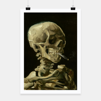 Skull of a Skeleton with Burning Cigarette by Vincent van Gogh Poster Bild der Miniatur