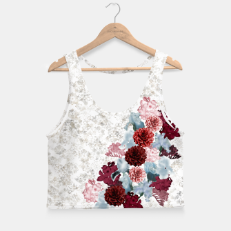 Miniatur elegant flower decoration freesia iris dahlia pink red blue white japanese Kamon Crop Top, Live Heroes
