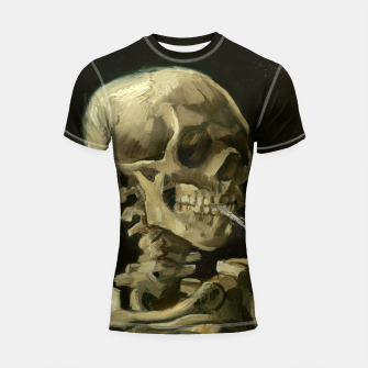 Skull of a Skeleton with Burning Cigarette by Vincent van Gogh Shortsleeve Rashguard Bild der Miniatur