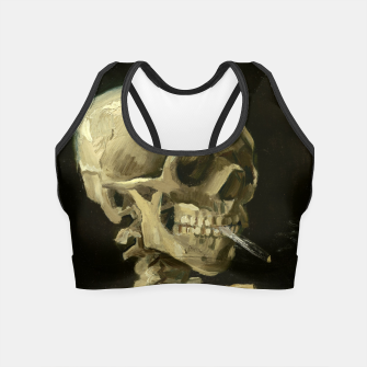 Skull of a Skeleton with Burning Cigarette by Vincent van Gogh Crop Top Bild der Miniatur