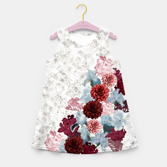 Miniatur elegant flower decoration freesia iris dahlia pink red blue white japanese Kamon Girl's Summer Dress, Live Heroes