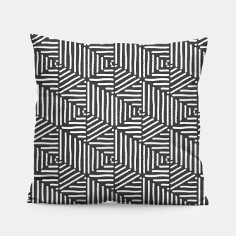 Miniatur Geo Triangles - Slate and White Pillow, Live Heroes